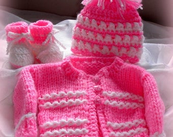 Hand knit baby girl  sweater set,hat,boots,size 3 months ,great shower gift,coming home outfit,original design by kidsknits1