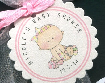 Personalized Baby Shower Favor Tags, baby girl, pink, set of 50