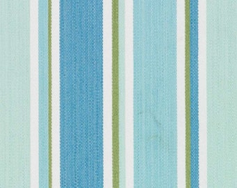 Turquoise Woven Stripe Upholstery Fabric - Aqua Blue Wide Stripe Fabric - Aqua White Pillow Covers - Turquoise Striped Fabric Headboard