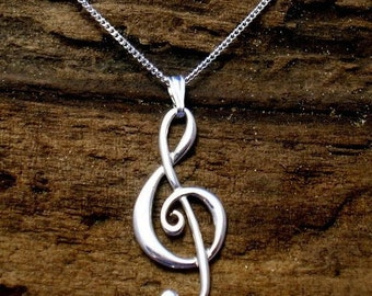 Silver Treble Clef Necklace, Treble Clef Pendant, Music pendant, Sterling Silver, Music Jewellery, Handmade ,G- clef, Music Gifts.