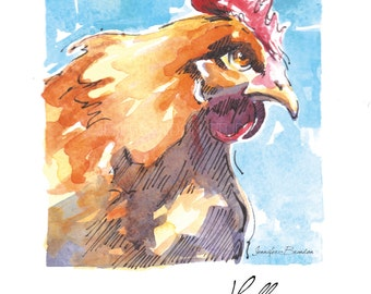 Note Cards - Set of 10 Greeting Cards - Artisan Cards -Rooster, Chicken, Farm Animals, Stocking Stuffers, Christmas, Gifts, Art, Homemade