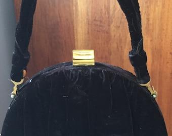 1950s Jugber Black Velvet Evening Bag Vintage Formal Evening Purse Retro Velvet Clutch