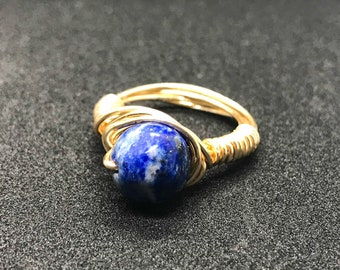 Lapis Lazuli Gold Wire Wrapped Ring
