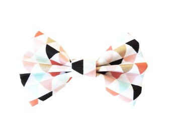 Geometric Triangle Fabric Bow Hair Clips or Bow Ties - dainty and Dapper - Gold, Blush, Aqua, Mint, White, Black