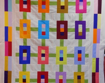 Jelly Roll Quilt Pattern -  Inwood Garden  - Throw or Twin  Quilt Pattern - size - 59 x 75 inches PDF INSTANT DOWNLOAD