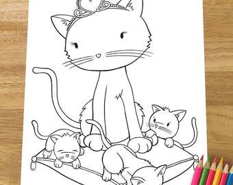 Mommy cat and kittens coloring page! Downloadable PDF file!