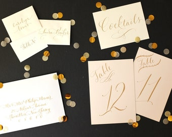 wedding calligraphy custom lettering - place cards, invitations, table numbers, envelope addressing