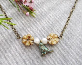 animal necklace bird boho blue jewelry owlsnroses, animal jewelry, bird necklace, boho necklace, blue bird necklace