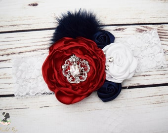 Handcrafted Fancy July 4th Headband - Red White and Navy Blue Headband - Couture Headband - Vintage Style Baby - Toddler July 4th Hair Bows