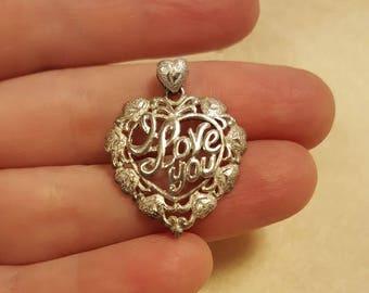 "Vintage Signed 925 PERU SA Pendant,Filigree Heart I Love You,2.6grams,Not Scrap,1 1/8"" by 7/8"",patina"