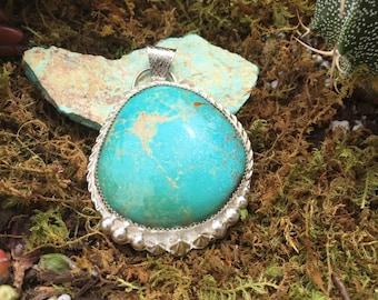 Cripple Creek Turquoise Pendant set in Sterling Silver, Southwestern Pendant, Boho Pendant, Bohemian Pendant,