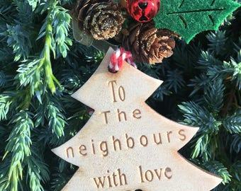 Wooden Gift Tag, Neighbours Gift Tag, Christmas 2017, Rustic Christmas Tag, Traditional Christmas Tag, Christmas Wrapping, Festive Gift Tag