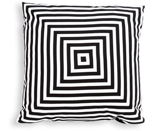 Concentric Squares Reversible Pillow Cover from Pieced Black and White Striped Cotton - Modern Décor