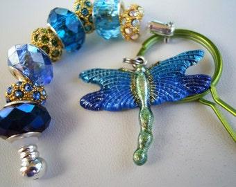 Single leg European style golden dragonfly hand painted charm blue Murano beads key chain purse charm car charm Help save a cat/kitten