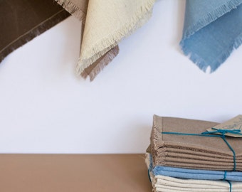 Napkin - Natural Fringed - Hemp / Organic Cotton - Set of 8 - Table Linen