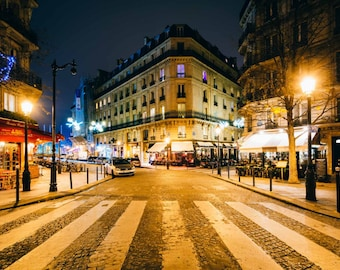 Rue Jean du Bellay at night, in Paris, France. Photo Print, Metal, Canvas, Framed.