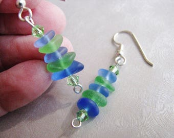 Stacked Sea Glass Earrings in Cornflower Blue and Green - Beach Glass Jewelry- Ocean Jewelry Gifts- Pure Sea Glass from Prince Edward Island