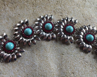 Metal Statement Bracelet, Southwest Bracelet, Chain Link Bracelet, Beaded Bracelet, Womens Jewelry, Beaded Jewelry