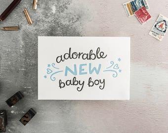 Adorable New Baby Boy Letterpress Card