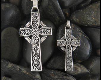 Celtic Cross Pendant in Silver, Celtic Cross in 2 Size Options, Sterling Silver Cross