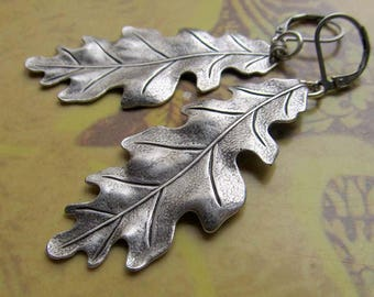 long earrings Leaf earrings - silver Oak leaf earrings - drop dangle earrings Everyday jewelry