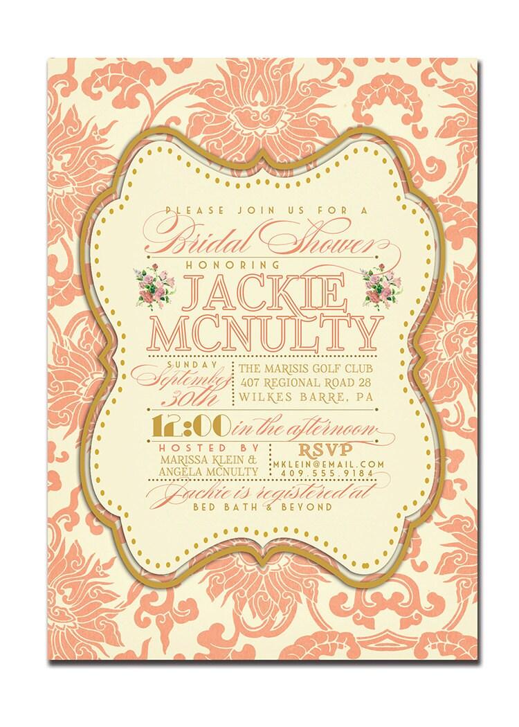 Bridal Shower Invitation Vintage Rustic Bridal Wedding Gold