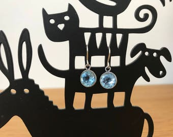 Blue Topaz Earrings - December Birthstone earrings - sterling silver earrings - bezel set earrings - dangle earrings - gemstone earrings