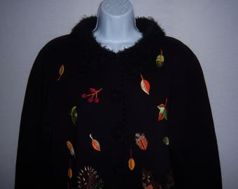 Vintage Jack B. Quick Black Autumn Leaves Squirrel Hedgehog Woodland Creatures Cardigan Sweater XL Jumper Extra Large Fall Animals