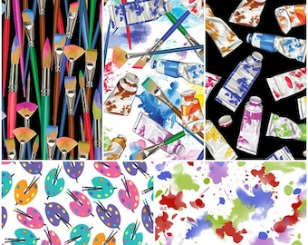 Artist Paint Brushes Supplies Easel Cotton Fabric! 5 Options [Choose Your Cut Size]