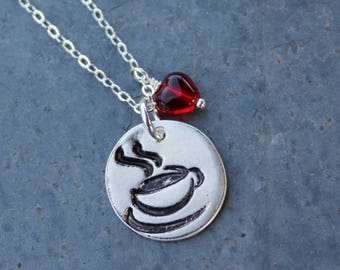 I love coffee I love tea - handmade fine silver disc charm with teacup on sterling chain - with red glass heart - free shipping USA