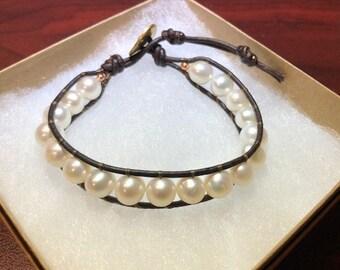 White Pearl Single Wrap Bracelet
