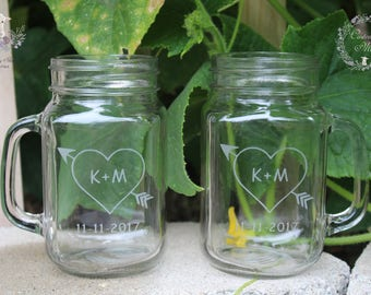 Etched Mason Jar Mug Set