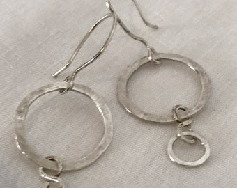 Hand-Hammered Silver Circle Earrings