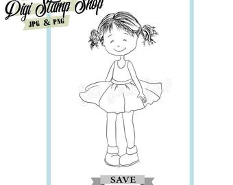 Girl Stamp, Digital Stamp, Pretty Dress Stamp, Digi Stamp, Girl Stamp, Color In Page, Card Design, Lineart, Pig Tail Stamp,