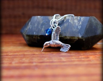 Hummingbird necklace, Sterling silver bird necklace