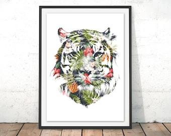 Tiger Print Tiger Wall Art Tiger Illustration Tiger Watercolour Gift Home Decor Tiger Rainforest Home Decor Gift by Robert Farkas