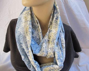 SALE - Blue and Tan Print Cowl, Circle Scarf, Infinity Scarf