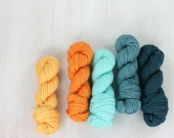 MINI SKEIN sock yarn set, FAVE sock: Koi