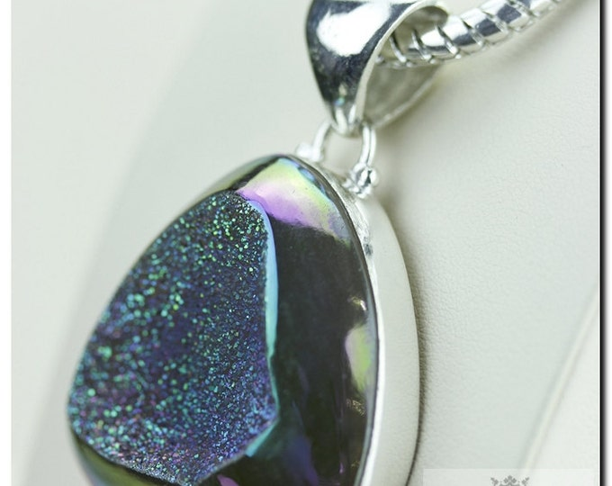 Moonshine Titanium Window Drusy Druzy 925 SOLID Sterling Silver Pendant + 4mm Snake Chain & FREE Worldwide Shipping P1343