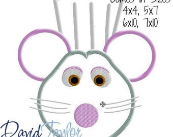 Ratatouille Remy Mickey Head Embroidery Design 4x4, 5x7, 6x10, 7x10 in 9 formats-Applique Instant Download-David Taylor Digitizing