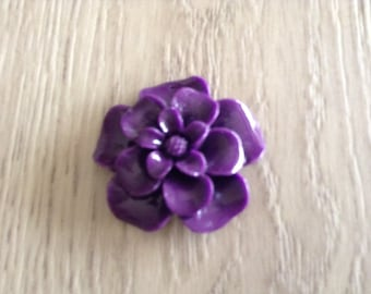 Porcelain purple flower pendant