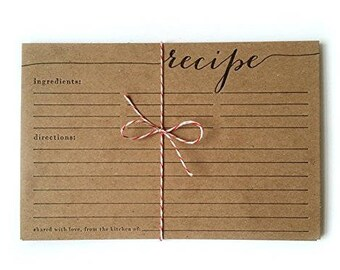 letterpress recipe card set, 10 pack, rustic, country, housewarming, calligraphy, printed by hand, unique gift, christmas, stocking stuffer