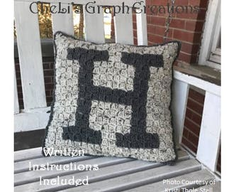 Monogrammed Pillow Letter H initials,names,alphabet,black,pattern,white,pillow,chart,crochet, DIY,gifts,charts,simple,personalized