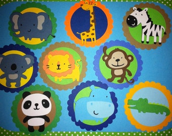 Set of 12 Jungle Theme Cupcake Toppers Safari Theme Circus