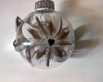 Gray and White Feather Ornament