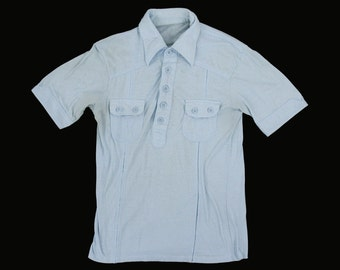 Vintage 1970's Baby Blue Polo -  Short Sleeve - Collar - Button Chest Pockets - Men's XS Small