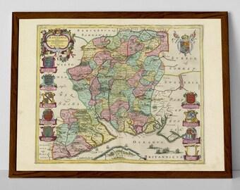 Southampton Old Map | Portsmouth, Basingstoke, Eastleigh, Gosport, Farnborough, Aldershot, Horndean, Winchester, Havant, Fleet, Totton