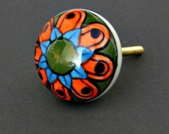 Round Ceramic Cabinet Knob with Orange and Blue Flower