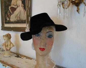 Cool 1940's Black Felt/Velour Tilt Hat