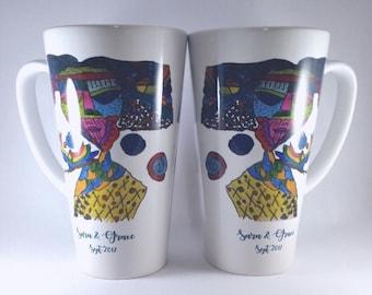 Art in a Mug grande, 17oz tall latte mug personalised with artwork